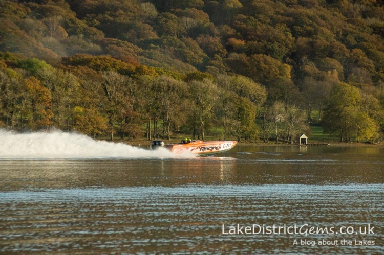 A power boat on Power Boat Records Week in November on Coniston