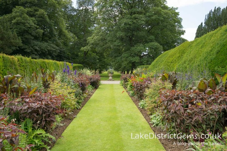 Flower border and Ha-Ha at Levens Hall near Kendal
