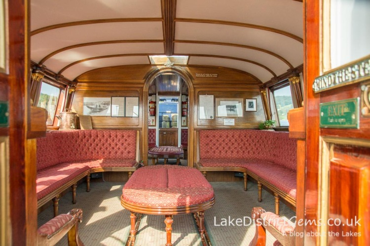 The interior of the National Trust's Steam Yacht Gondola on Coniston Water