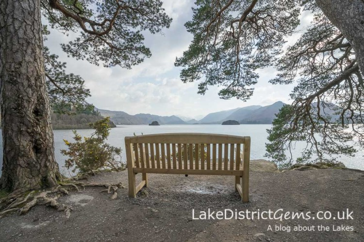 The bench at Friar's Crag overlooking Derwentwater