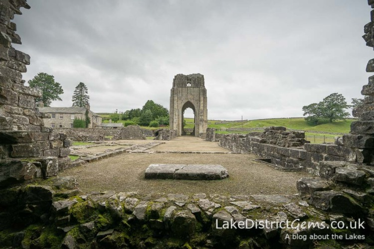 The west tower from the Presbytery in the Abbey Church at Shap Abbey