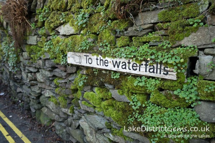 'To the waterfalls' sign Ambleside, on the Stockghyll Force walk