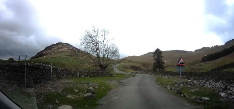 Road up to Blea Tarn with warning sign