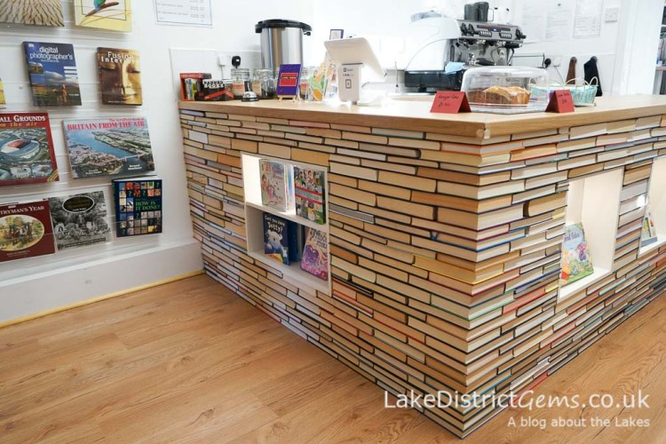 Counter made of books, The Book Lounge, Kirkby Lonsdale