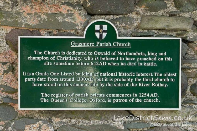 Plaque at Grasmere Parish Church