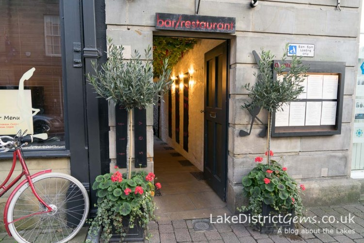 Entrance to a restaurant in Kirkby Lonsdale