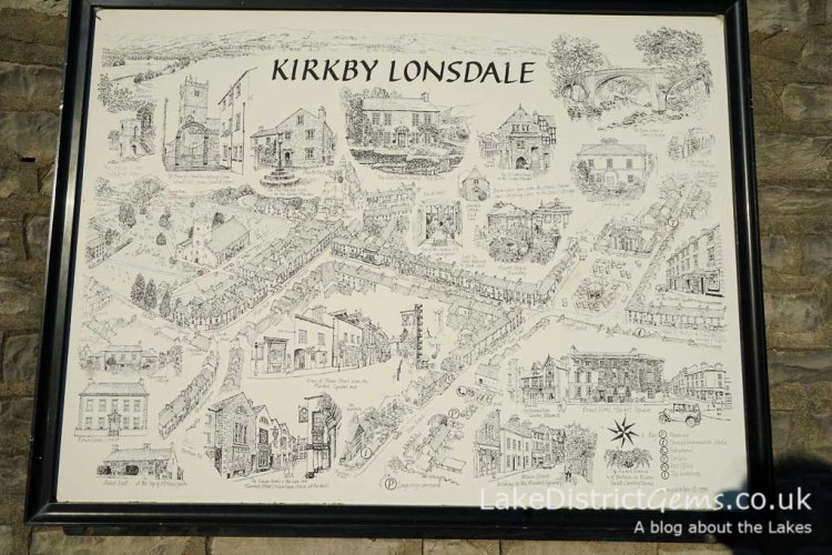 A map on the wall in the market square, Kirkby Lonsdale