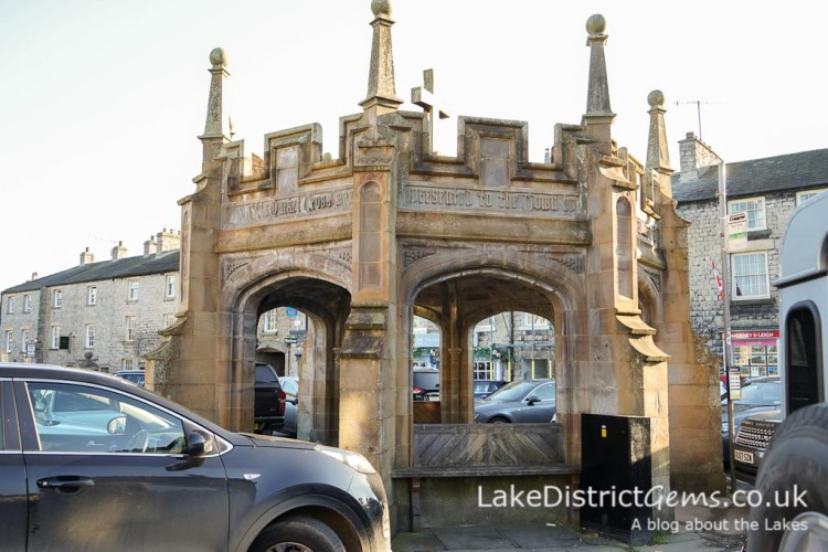 The monument in the centre of Market Square, Kirkby Lonsdale