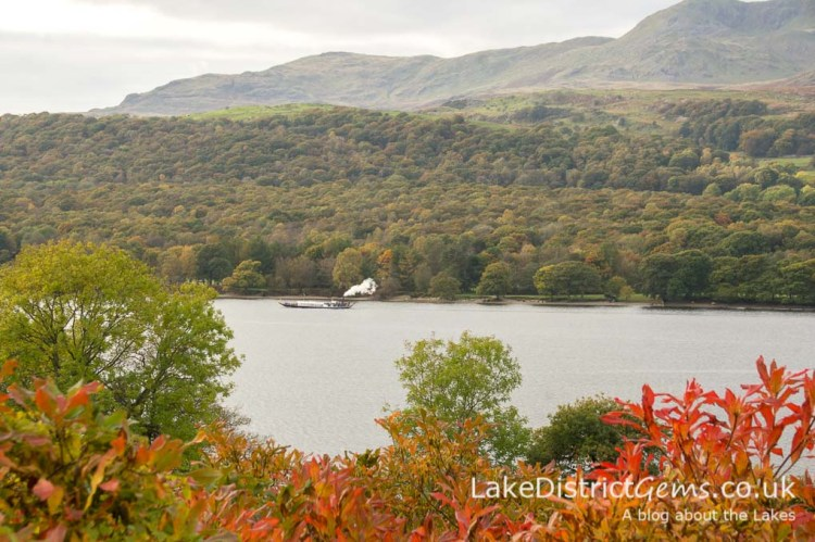 Steam Yacht Gondola on Coniston Water from Brantwood