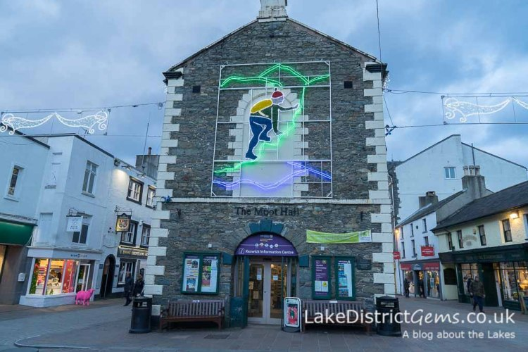 The Moot Hall with a Lake District-themed climbing light display