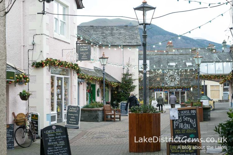 Christmas lights at Packhorse Court, Keswick