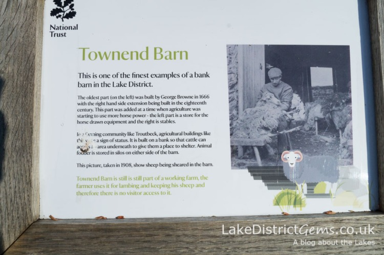 Information panel about Townend Barn at Townend